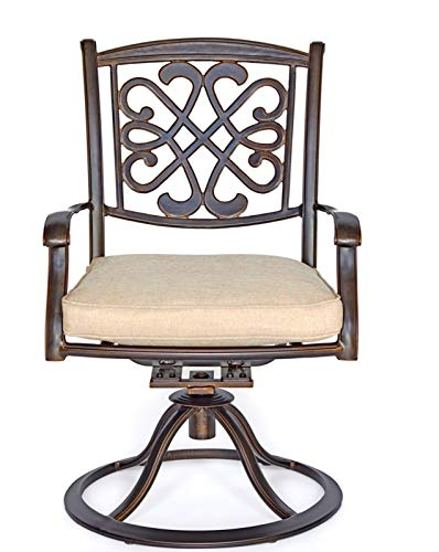 XSWEW4 Outdoor Patio Swivel Rocking Home Archer Steel-Framed Outdoor Patio Swivel Dining Chairs 2 Pcs Set