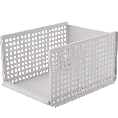 Leileixiao Caja de almacenamiento de ropa de varias capas para cajones, cesta de almacenamiento de plástico, separación de armario, caja de almacenamiento (tamaño: L)