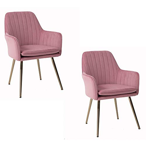 DMF Furniture Modern Velvet Accent Chair Set of 2 High Back Elegant Dinning Chairs with Arms in Living Guest Room (Pink)