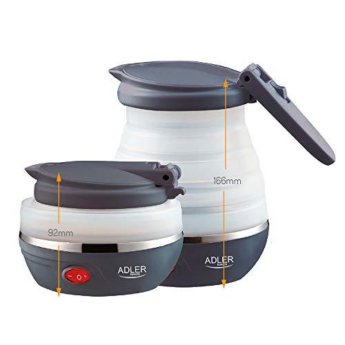 Adler AD1279 Hervidor de Agua Eléctrico Plegable, 0,6L, 750W, Libre de BPA,...