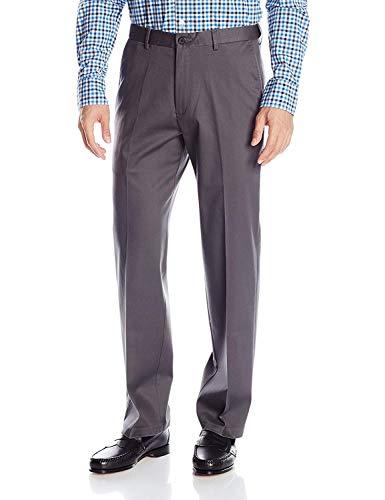 Haggar Men's Classic Fit Flat-Front Hidden Expandable Waistband Premium No Iron Khaki, 38W x 29L - Dark Grey