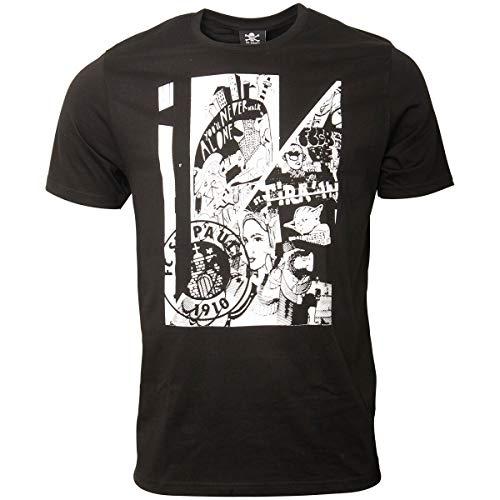 FC St. Pauli Herren T-Shirt Kunstdruck Collage Vereinslogo Schwarz Weiß (M)