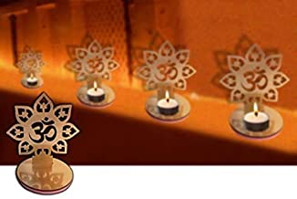 4 Pc Set Om Shape Diwali Shadow Diya. Deepawali Traditional Decorative Diya in Om Shape for Home/Office.Religious Tea Ligh...
