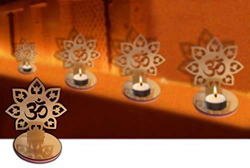 Craftsman 4 Pc Set Om Shape Diwali Shadow Diya Deepawali Traditional Decorative Diya in Om Shape for Home/Office Religious Tea Light Candle Holder Stand Diwali Decoration Diwali Gift Indian Gift items