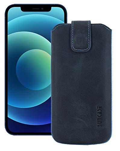 Suncase ECHT Leder Tasche kompatibel mit iPhone 12 (6.1