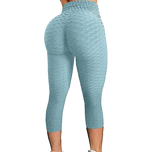 LIUYONG Leggings para mujer de nido de abeja de TIK Tok para levantamiento de glúteos, pantalones de yoga de levantamiento de glúteos, pantalones de yoga de longitud 3/4