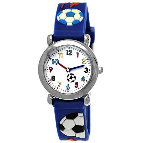 Pure Time® Kinder-Uhr Mädchen-Uhr Jungen-Uhr Kinder Mädchen Jungen Silikon Kautschuk Armband-Uhr Uhr mit Fußball Soccer Kicker Motiv Blau Rot Weiß Bunt