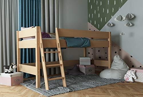 furnneo Kinderbett, Hochbett Spielbett, Absturzsicherung & Leiter, Liegefläche 90 x 200 cm, Buche Massiv