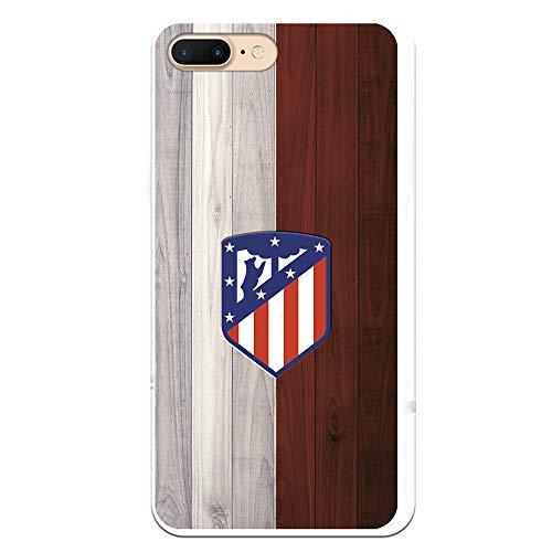 Funda para iPhone 7 Plus - iPhone 8 Plus Oficial del Atlético de Madrid Madera para Proteger tu móvil. Carcasa para iPhone de Silicona Flexible con Licencia Oficial de Atlético de Madrid.