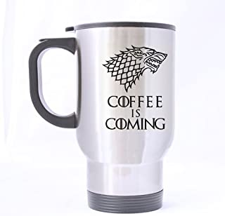 Nice Funny Wolf Coffee Mug - Coffee Is Coming Mug - 100% Stainless Steel Material Travel Mugs - 14oz sizes