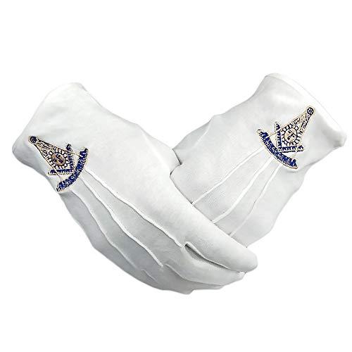 Freemasons Past Master Masonic Gloves White Cotton Hand Embroidered PM Symbol