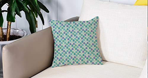 Pillow Case Cojín Cuadrado Print,Verde azulado, Coloridas gotas de agua Lluvia...
