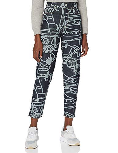 G-STAR RAW Janeh Ultra High Waist Mom Ankle Jeans, Multicolor (Salpicadura de Arte de línea de carbón de Mezclilla cruda C472-B894), 32W / L30 para Mujer