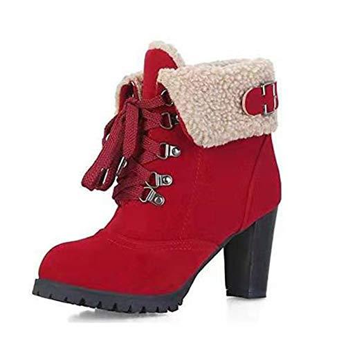 ZLFCRYP Damen Stiefeletten, Leicht Gefüttert Mit Blockabsatz, PU Leder Klassische Stiefel red-35