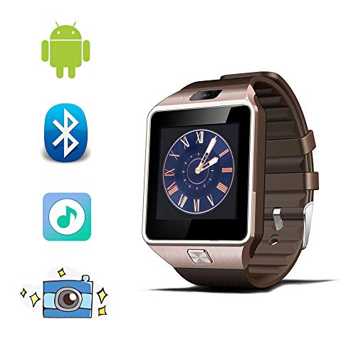 Bluetooth Smart Watch Fitness Tracker Step Counter Sedentary Reminder SNS Notifications Audio Player for Android Smartphones (Rose Gold)