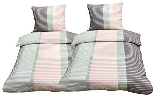 Leonado Vicenti - Bettwäsche 155x220 4teilig Mikrofaser rosa grau Streifen mit Reißverschluss