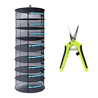 CASOLLY Herb Drying Rack 2ft 8 Layer Mesh Hanging Plant Dry W/Blue Zipper,Garden Scissor Include