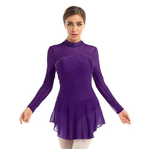ranrann Vestido de Patinaje Artístico Diamantes para Mujer Maillot de Ballet Manga Larga Leotardo de Gimnasia Rítmica con Falda Traje Bailarina Morado S