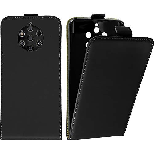 Baluum Hülle Kunstleder Flip Hülle kompatibel mit Nokia 9 PureView Schwarz - aufklappbare Lederhülle Schutzhülle Cover