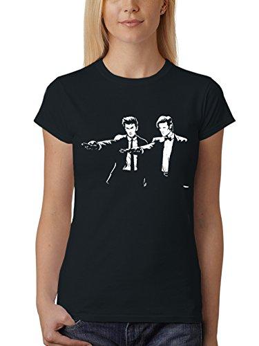 clothinx Damen T-Shirt Fit Who Fiction The Doctors Schwarz Gr. M