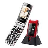 Artfone - Teléfono móvil para personas mayores, doble pantalla de 2,4 pulgadas, con teclas grandes, sin contrato función llamada emergencia, linterna, cámara GSM, dual SIM, pensionista, teléfono