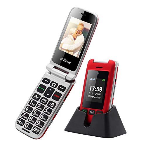 Artfone - Telefono cellulare per anziani, pieghevole, con doppio schermo da 2,4 pollici, con tasti grandi, senza contratto con tasti grandi, fotocamera, GSM, Dual SIM, Rentner