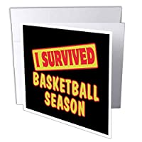 Dooni Designs Survive Sayings – I SurvivedバスケットボールSeason Survival Pride andユーモアデザイン – Greeting cards-1 Greeting Card with Envelope (GC 117766 _ 5 )