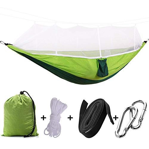 LYMUP Hamacas, portátil al aire libre mochilero viaje camping colgante hamaca cama con mosquitera para cama doble hamaca adulto cama cómoda