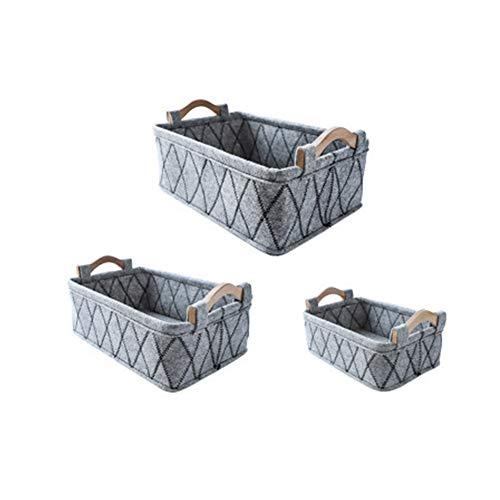 HNYG 3-delige set viltstoffen opbergmanden Beige, zwart, grijze opbergblokjes dozen met houten handvatten, ladekast organizer plankmanden voor thuiskantoor keuken