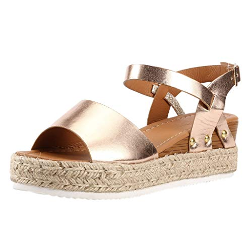 Buy Bargain Hunauoo Peep Toe Sandals for Girls Retro Women Round Toe Buckle Strap High Heel Wedges A...