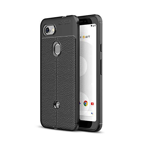 wortek Hülle, kompatibel mit Google Pixel 3a, Lederoptik Schutzhülle Lederdesign TPU Silikon elastisches Hülle Bumper gebürstet & matt mit Kameraschutz Handyhülle Tasche mit Naht-Erscheinungsbild Schwarz
