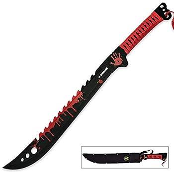 25  FULL TANG ZOMBIE KILLER SWORD APOCALYPSE MACHETE Sharp Large Red
