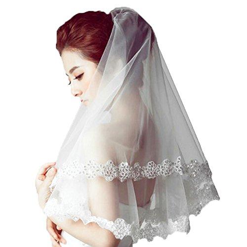 Bride de mariage blanc Voile/Eglise mariage Veils/Elégant Headwear-B