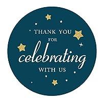 Blue Thank You Twinkle Little Star or Space ステッカー 男の子 ベビーシャワー 子供 誕生日パーティー ステッカー ラベル 2インチ 40枚パック