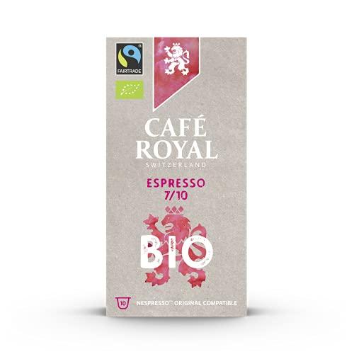 Café Royal Espresso Bio Fair &Organic Edition 100 Nespresso®* kompatible Kapseln (aus Aluminium, Intensität 7/10) 10er Pack (10 x 10 Kaffeekapseln)