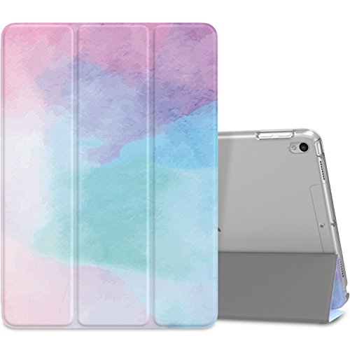 MoKo Case Fit New iPad Air 3 2019(3rd Generation 10.5 inch)/iPad Pro 10.5 2017 - Slim Lightweight Smart Shell Stand Cover with Translucent Frosted Back Protector - Water Color (Auto Wake/Sleep)