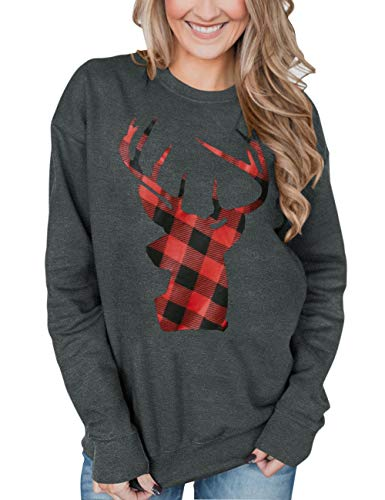 For G and PL Christmas Womens Long Sleeve Black Red Xmas Reindeer Pullover Holiday Graphic Sweatshirt Grey M