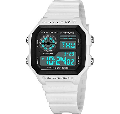 MNBVC Reloj de Pulsera Digital para Hombre S, LED para niño 50M Impermeable Resistente a roturas Multifuncional Moda Simple Luminoso Pantalla Deportiva al Aire Libre Large Face Date Alarm Chrono