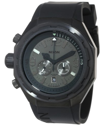 Nixon Steelcat Watch All Blac Polyurethane Swiss Movement Date Stainless Steel A313001
