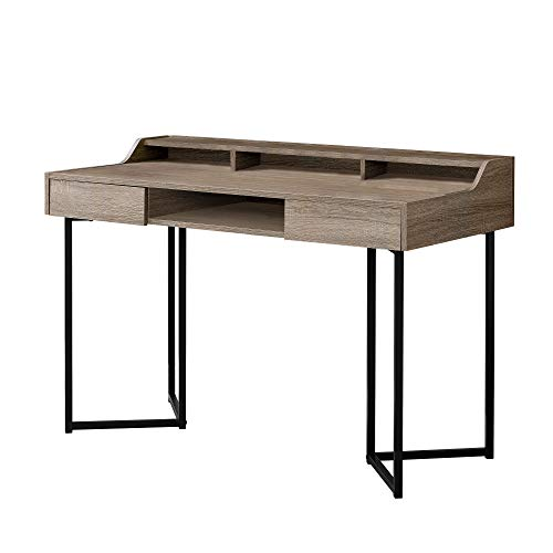 Monarch Specialties I 7360 Computer Desk-Modern Contemporary Style-Laptop Table for Home & Office with Hutch Drawers and Shelves, 48