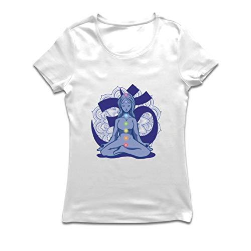 lepni.me Camiseta Mujer Yoga Meditación Namasté Asana Mandala Mente Cuerpo Alma (Large Blanco Multicolor)