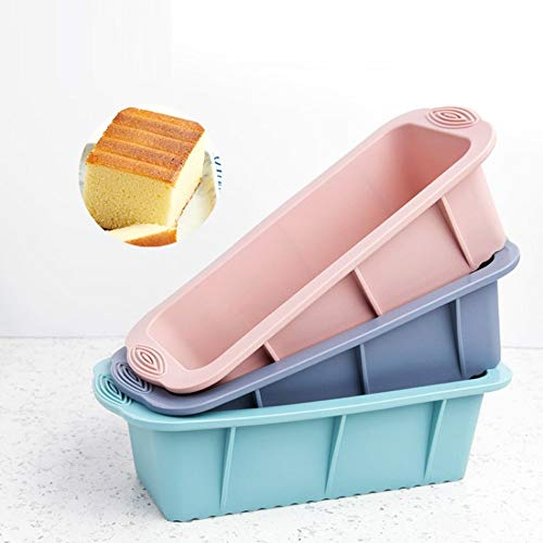 3 Pack Silicone Bread Loaf Pan DIY Cake Loaf Mold Toast Mold Nonstick Loaf Baking Pans for Homemade Cake Break Meatloaf Quiche