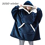 Oversized Manta Tamaño Usable con Capucha Sudadera para Mujeres, Lana Cordero Doble Cara Sportsweater Lazy Manta con Mangas Y Bolsillo Un Tamaño Gigante,Azul