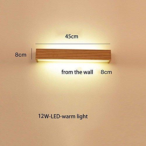 Allamp Inicio Espejo de baño Espejo de baño faros de LED luz delantera de la manera simple de dormitorio de madera maciza pared de la lámpara del bulbo de la lámpara de cabecera, Incluye espejo del fa