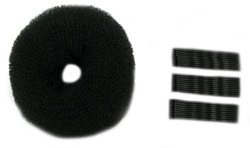 Black extra large bun ring and 30 piece longer length kirby grip set. Easy to use to create the perfect bun and hold in place. Useful hair accessories.