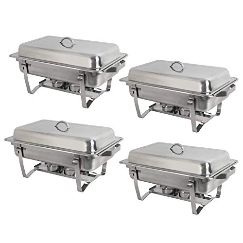 Rectangular Chafing Dish Full Size Chafer Dish Set 4 Pack of 8 Quart Stainless Steel Frame (4)