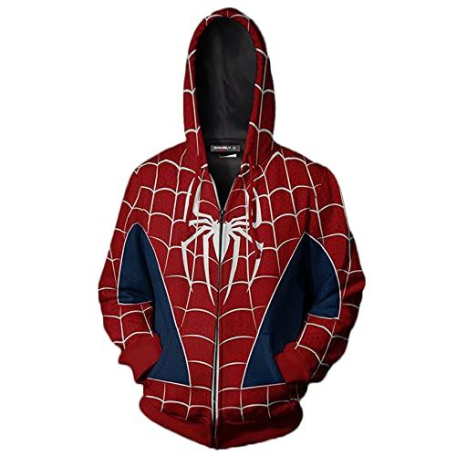 GJZhuan Sudadera para Niños Spiderman Sudaderas con Capucha Chándal De Cómic 3D Jersey Unisex Cremallera Suéter Halloween Cosplay Cosume Otoño Ropa Deportiva,Red-Adults/XL
