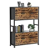 Rimdoc Rolling File Cabinet on Wheels, Storage Cabinet for A4, Hanging File Folders,Office Storage, Wood Mobile Office Cabinet Filing Cabinets for Home Office 2 Drawer Printer Stand with Open Shelf
