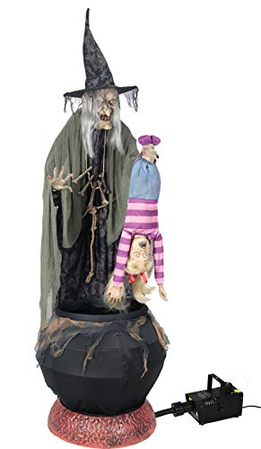 Spooky Animatronic Witch Holding Toddler Halloween Decoration With Fogger