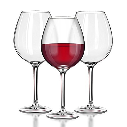 Unbreakable Red Wine/ Pinot Noir clear plastic stemware glasses - 100% Tritan Dishwasher-safe, shatterproof wine glasses - Tall, Large, Reusable - Smooth Rims - Set of 4 (22oz Stemmed Red) by TaZa